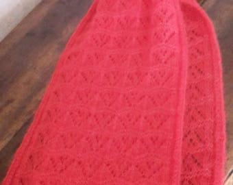 RED HANDKNITTED SCARF mohair silk