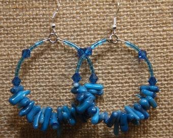 2. dangle hoop, Capri blue bamboo coral earrings