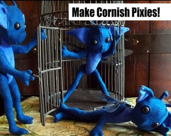 How to Make Cornish Pixies (PDF Tutorial) - Pattern and Instructions for Jointed Plush Dolls inspired by the Harry Potter Series