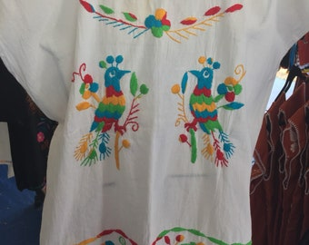 Otomi Mexican Embroidery blouse medium large xlarge ladies