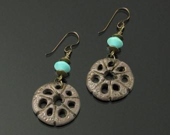 Rustic Tribal Earrings, Unique Boho Honeycomb Dangle Earrings, Aqua Brown Niobium Earrings, Tribal Jewelry, Unique Jewelry Gift for Women