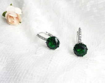 Emerald earrings, CZ bridal earrings, Bride green Earrings, wedding jewelry, emerald earrings, bridal jewellery, CZ earrings, emerald green