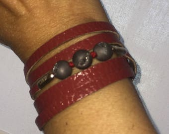 Womens Red Leather, Sterling Silver, Round Druzy Crystals |Red Stars| Gorgeous Red Leather Sterling Wrap, Cuff, Bangle, Magnetic Clasp