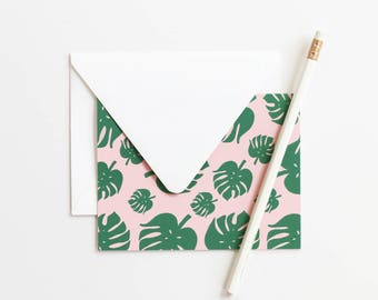 Palm Leaf Thank You Notes Blank Stationery Set Monstera Leaf Stationary Tropical Bridesmaid Gift Wedding Stationery Pink Green Note Cards