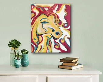 Unicorn, Unicorn Head, Girls Room Art, Girls Art, Original abstract painting