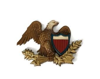 Vintage Sexton Painted Metal Eagle Plaque // Patriotic Symbol USA American Made