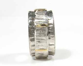 Meant to be Together-silver and gold rotating, wedding ring for him and her