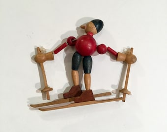 Vintage Christmas Wooden Skier Ornament, Ca: 1920s.