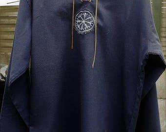 Linen shirt with viking embroidery medieval ancient inspiration - women  shirt/ man shirt