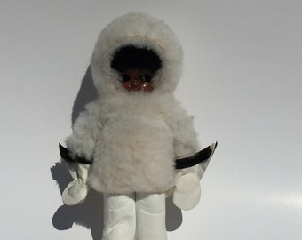 Vintage Rattle Doll Eskimo Child With Leather and Fur