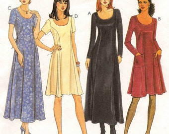 "A Princess Seam, Back Tie, Long/Short Sleeve, Flared Skirt Dress Pattern for Women: Uncut - Sizes 12-14-16, Bust 26-1/2""-30"" ~ McCall's 9456"