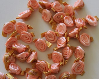 Satin Ribbon Roses in Peach with Fern Colored Leaves