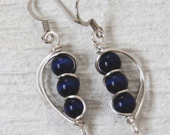 Gift for Grandma, Dark Blue Earrings, Gift for Mom, Navy Blue Earrings, Blue Dangle Earrings, Wire Wrapped Earrings, Christmas Gift
