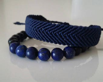 Macrame bracelet set with lapis lazuli stone
