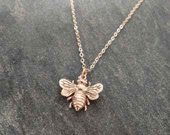 Rose Gold Bee Necklace Honey Bee Necklace Sterling Silver
