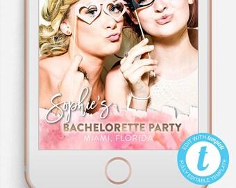 Bachelorette Snapchat Filter, Bachelorette Snapchat Geofilter, Editable Snapchat Filter, Templett, Snapchat Filter Watercolor, Script, PINK