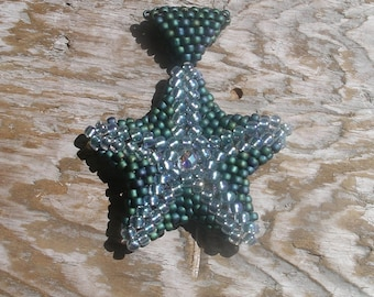 Handmade seed bead starfish pendant - sea green sparkle