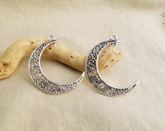 Large Moon pendant Moon size is 40mm x 35mm Crescent Moon filigree