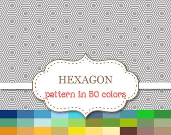 "HEXAGON Digital paper 50 Color Paper Pack Hexagon background Printable Honeycomb background Rainbow Hexagon scrapbook paper 12""x12""#P165"