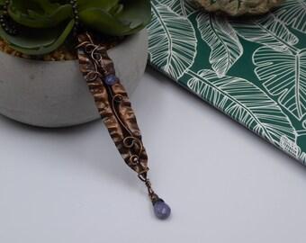 Tanzanite Pendant, Tanzanite Copper Necklace, December Birthstone Gift, Boho Jewelry, Best Friend Gift, Leaves