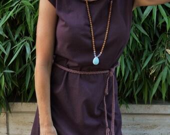 Athena Dress - organic cotton t-shirt dress with braided belt