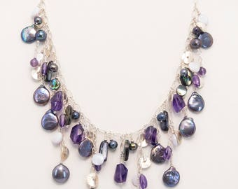 Amethyst and Freshwater Pearl Sterling Silver Bib Necklace