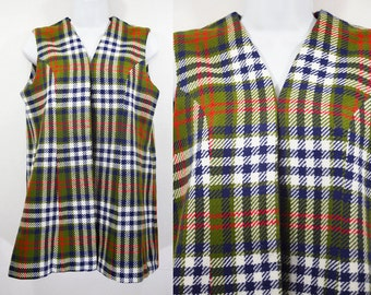 7 Dollar Sale---Vintage 60's Tweed Plaid Long Vest M