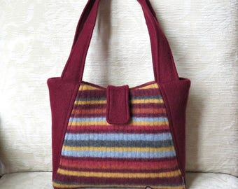 Willow Handbag in Burgundy and Stripes, Upcycled Felted Wool Sweater Purse