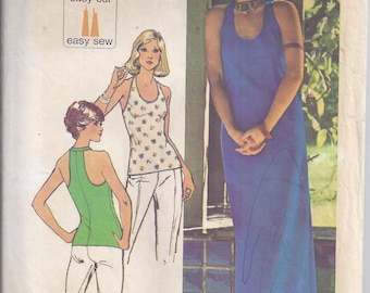 Simplicity 6443 Vintage Pattern from 1974.  Misses Jiffy Knit Pullover Dress or Top. Halter Style.  Jiffy Pattern for Knits.  Bust 36