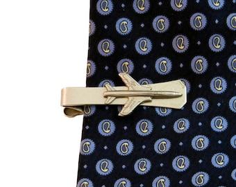 Silver Airplane Tie Clip ,  Fighter Jet Tie Bar,  Pilot Tie Tack