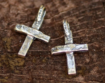 Artisan Cross Charm in Sterling Silver, Small Rustic Crosses, R-345