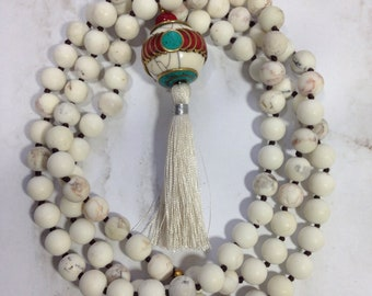 White howlite necklace with TibetanCoral Turquoise Pendant knotted long necklace For her