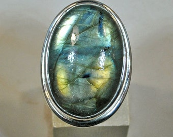 Big silver ring with labrador setting
