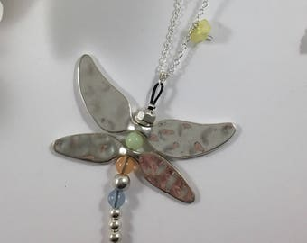 Silver necklace multicolor Dragonfly and flowers