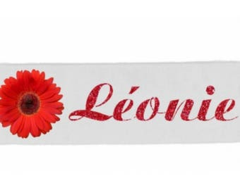White personalized with name flower girl headbands