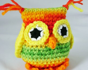Sunshine the Owl Rattle Crocheted Stuffed Toy ready to ship