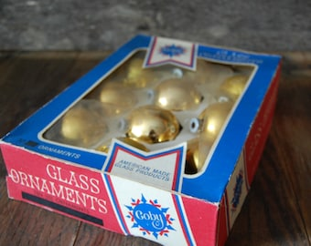 box of 10 gold Coby Glass Christmas Tree Ornaments - shiny decorations
