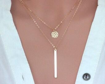 Gold Bar Necklace - Long Bar Necklace - Layred Bar Necklace - Bar necklace - Layered bar necklace - two layered necklace- double layered