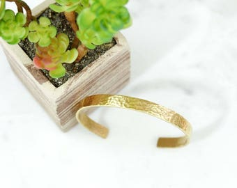 Heavy Textured Hand Stamped Metal Brass Cuff Bracelet