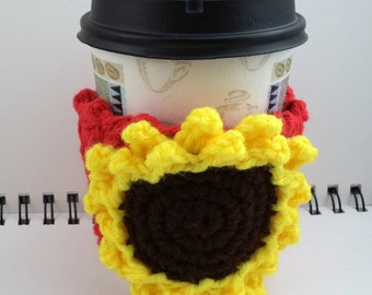 SALE - Red Crocheted Coffee Cozy with Sunflower Circular Pocket (SWG-A06)