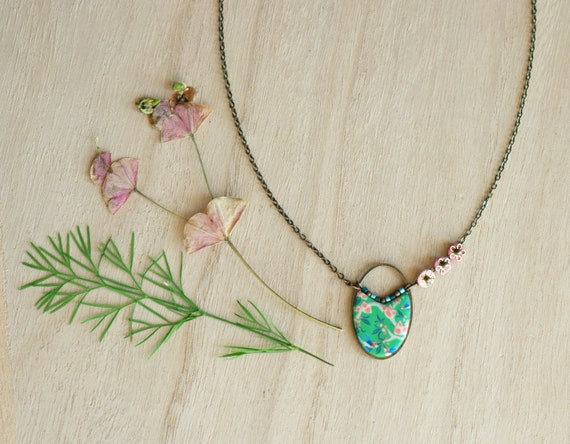 Boheme necklace, pink and green necklace, handmade japanese patterns, brass necklace, hummingbirds pattern, 'Alcea'