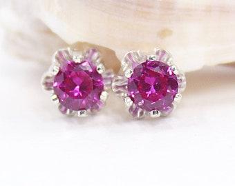 Flower Earrings, Ruby Earrings, Ruby Flower Earrings, Ruby Jewelry, Floral Earrings, Sterling Silver, Stud Earrings, Gemstone Earrings, Ruby