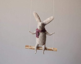 Swinging Bunny, Needle Felted Bunny, Nursery Decoration, Baby Crib Mobile, Hanging Bunny, Baby Mobile