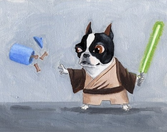 Jedi Terrier - 11 x 14 Boston Terrier Dog Art Print