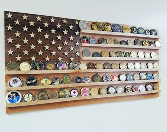 US Flag Challenge Coin Display - Military Coin Holder - Army, Navy, Coast Guard, Air Force Personalized, Birthday Gift