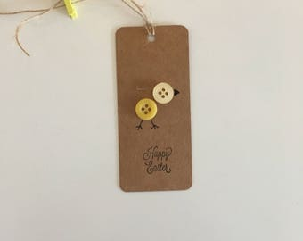 Handmade - Hand Stamped - Happy Easter Gift Tags - Set of 4 - Easter Chick Design - Gift Labels