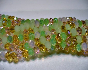 Crystal Beads Faceted Cherry Blossom Rondelles 6x4mm