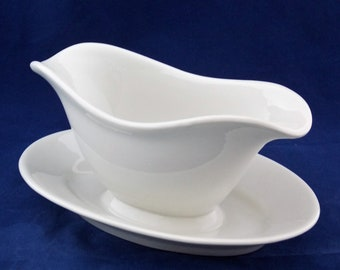 P.Regout Porcelain Gravy Boat with Bottom Plate Off-Whit