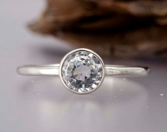 14k White Gold and White Sapphire Engagement Ring - 5mm Stone