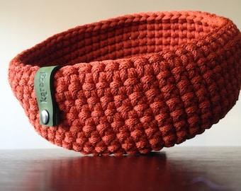Orange crochet basket
